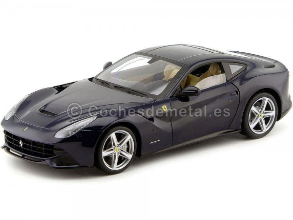2012 Ferrari F12 Berlinetta Bleu Pozzi 1:18 Hot Wheels Elite X5476 Cochesdemetal.es
