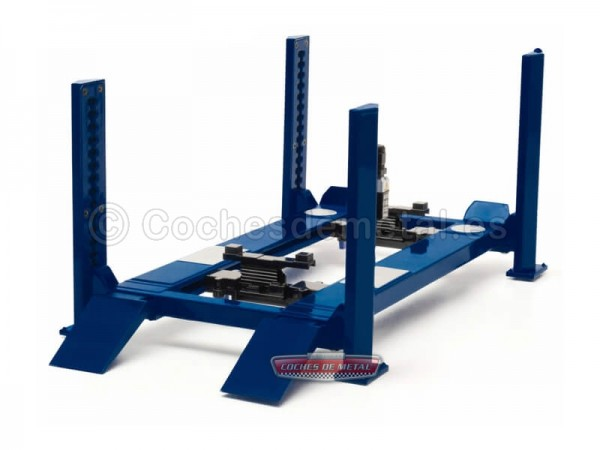"Elevador Ajustable de Cuatro Columnas ""Four-Post Lift"" Azul 1:18 Greenlight 12884 Cochesdemetal.es"