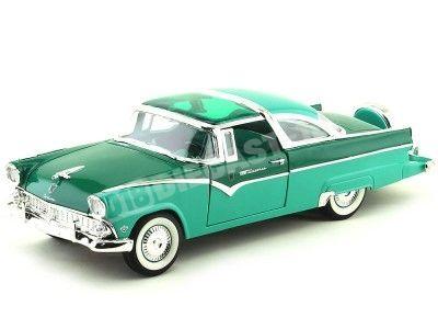 1955 Ford Fairlane Crown Victoria Verde-Azul 1:18 Lucky Diecast 92138 Cochesdemetal.es