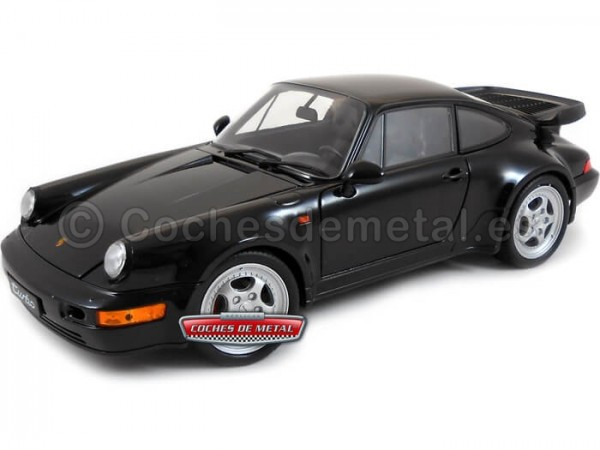 1988 Porsche 911 (964) Turbo Coupe Negro 1:18 Welly 18026 Cochesdemetal.es