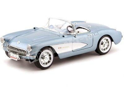 1957 Chevrolet Corvette Convertible Azul-Blanco 1:18 Lucky Diecast 92018 Cochesdemetal.es