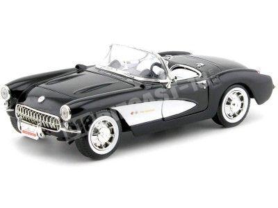 1957 Chevrolet Corvette Convertible Negro-Blanco 1:18 Lucky Diecast 92018 Cochesdemetal.es