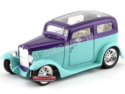 1931 Ford Model A Sedan Azul-Violeta 1:18 Lucky Diecast 92848 Cochesdemetal.es