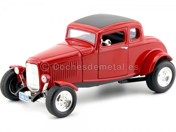 1932 Ford Five-Window Coupe Rojo 1:18 Motor Max 73171 Cochesdemetal.es