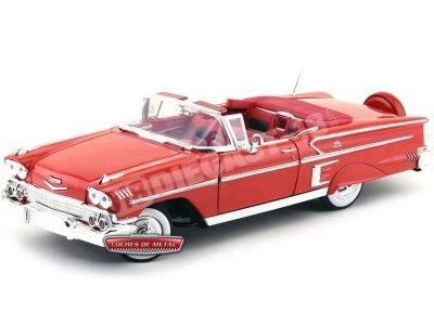 1958 Chevrolet Impala Roadster Rojo Metalizado 1:18 Motor Max 73112 Cochesdemetal.es