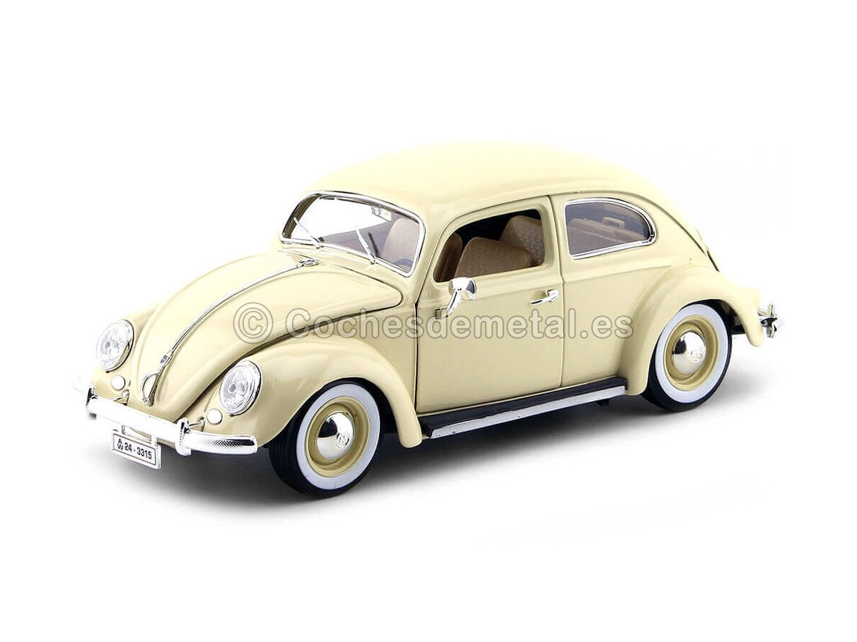 1955 Volkswagen Kafer Beetle Beige 1:18 Bburago 12029 Cochesdemetal.es