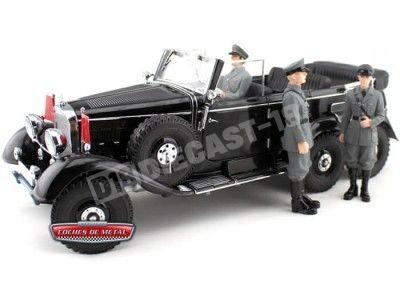 1938 Mercedes-Benz G4 Pullman Cabrio Negro + 3 Soldados 1:18 Signature 38202 Cochesdemetal.es