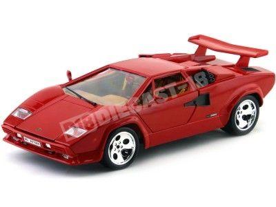 1985 Lamborghini Countach 5000 Quattrovalvole Rojo Bburago 12027R Cochesdemetal.es