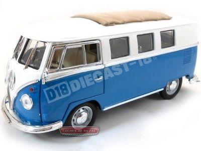 1962 Volkswagen Microbus Combi Type 2 T1 Azul-Blanco 1:18 Lucky Diecast 92327 Cochesdemetal.es