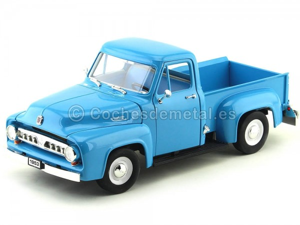 1953 Ford F-100 Pickup Azul Claro 1:18 Lucky Diecast 92148 Cochesdemetal.es
