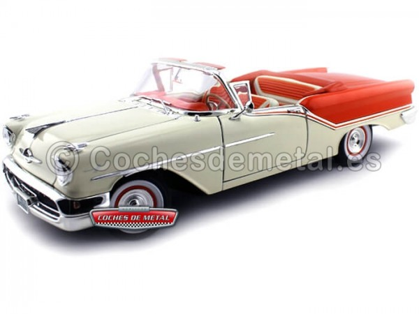 1957 Oldsmobile Super 88 Convertible Blanco-Naranja 1:18 Lucky Diecast 92758 Cochesdemetal.es