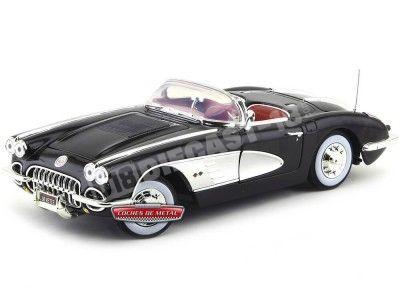 1958 Chevrolet Corvette Convertible Negro 1:18 Motor Max 73109 Cochesdemetal.es