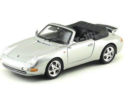 1994 Porsche 911 Carrera Cabriolet Gris 1:18 Bburago 12039 Cochesdemetal.es