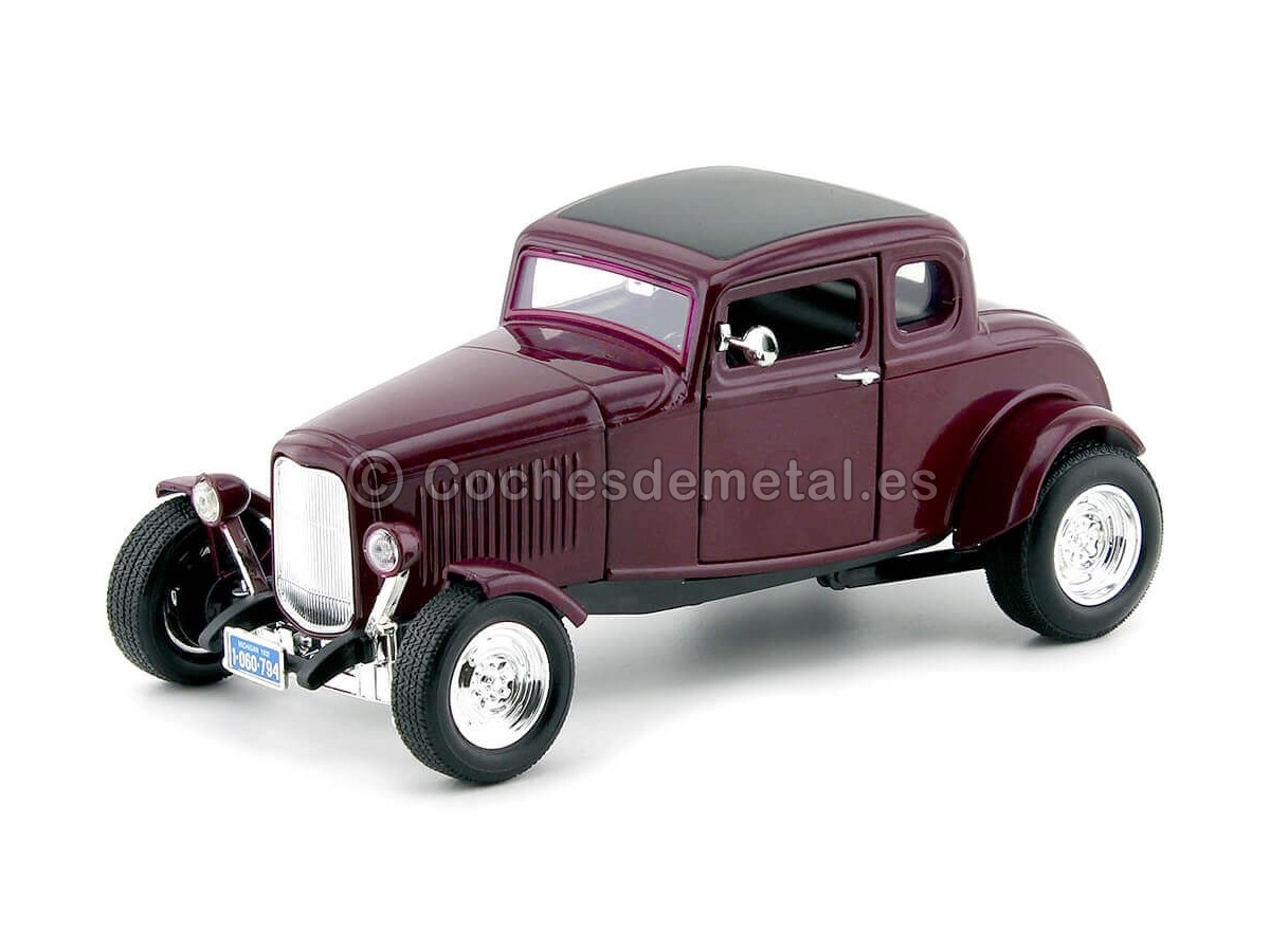 1932 Ford Five-Window Coupe Violeta 1:18 Motor Max 73171 Cochesdemetal.es