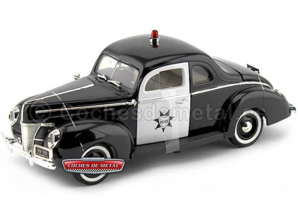 1940 Ford Deluxe Police Negro-Blanco 1:18 Motor Max 73108 Cochesdemetal.es