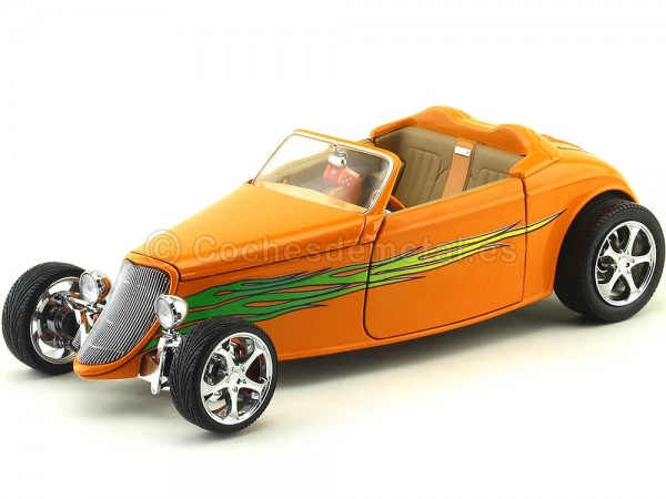 1933 Ford Coupe Shyne Rodz Naranja 1:18 Lucky Diecast 30108 Cochesdemetal.es