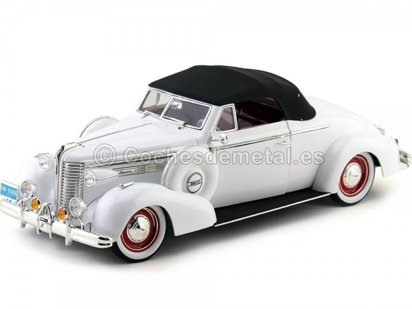 1938 Buick Century Convertible Coupe Blanco 1:18 Signature Models 18131 Cochesdemetal.es