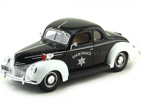 1939 Ford Deluxe State Police Negro-Blanco 1:18 Maisto 31366 Cochesdemetal.es