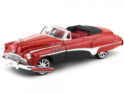 1949 Buick Roadmaster Custom Rojo-Negro 1:18 Motor Max 79004 Cochesdemetal.es