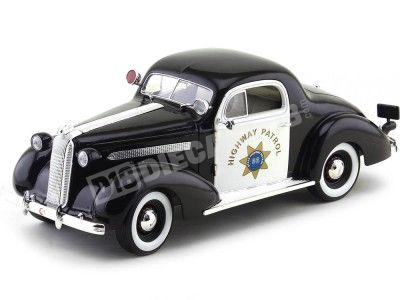 "1936 Pontiac Deluxe ""Police Car"" Negro-Blanco 1:18 Signature Models 18140 Cochesdemetal.es"