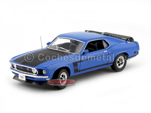 1969 Ford Mustang Boss 302 Azul 1:18 Welly 12516 Cochesdemetal.es