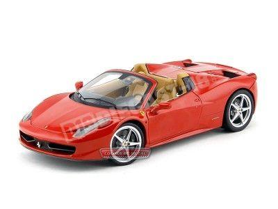 2011 Ferrari 458 Italia Spider Rojo-Cuero 1:18 Hot Wheels Elite BCJ89 Cochesdemetal.es