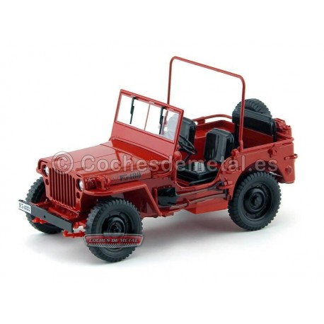 1942 Jeep Willys 1-4 Ton Army Truck Rojo 1:18 Welly 18055 Cochesdemetal.es