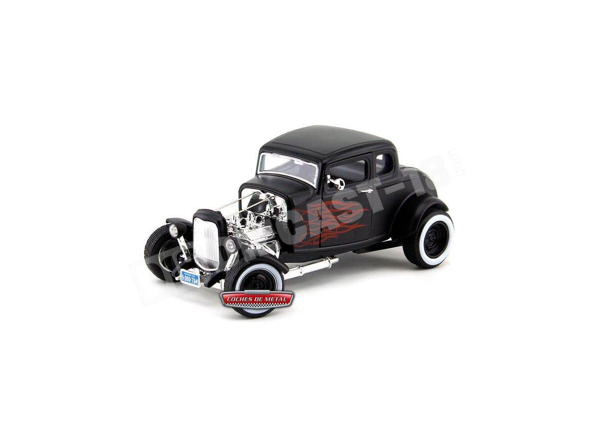 1932 Ford Hot Rod 5-Window Coupe Negro con llamas 1:18 Motor Max 73172 Cochesdemetal.es