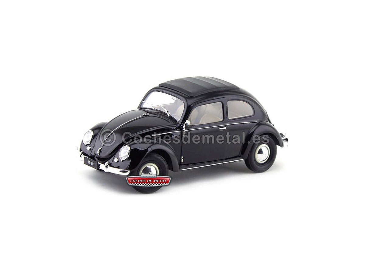1950 Volkswagen Classic T1 Kafer Beetle Black 1:18 Welly 18040 Cochesdemetal.es