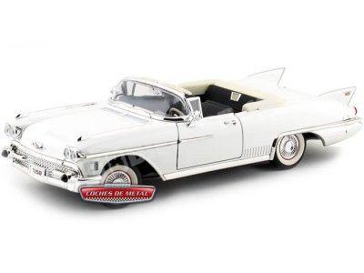 1958 Cadillac Eldorado Biarritz Open Convertible Blanco 1:18 Lucky Diecast 92158 Cochesdemetal.es