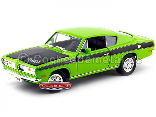 1969 Plymouth Barracuda Verde 1:18 Lucky Diecast 92179 Cochesdemetal.es