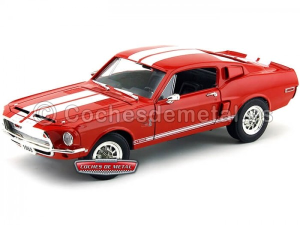 1968 Ford Shelby GT-500KR Rojo 1:18 Lucky Diecast 92168 Cochesdemetal.es
