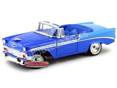 1956 Chevrolet Bel Air Open Convertible Azul 1:18 Lucky Diecast 92128 Cochesdemetal.es
