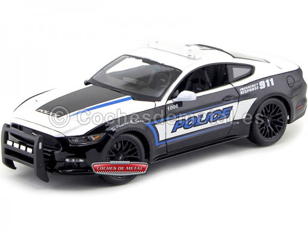 2015 Ford Mustang GT 5.0 Police Blanco-Negro 1:18 Maisto 36203 Cochesdemetal.es