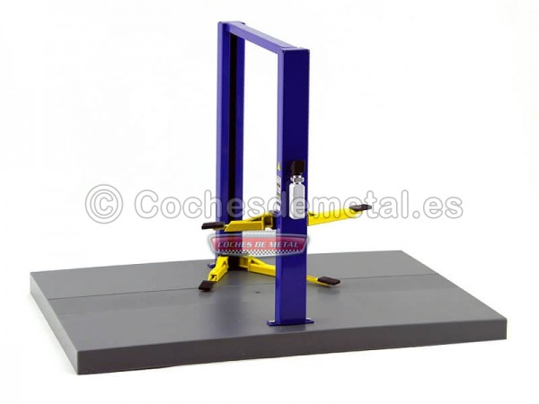 "Elevador Ajustable de dos Columnas ""Two-Post Lift"" Azul 1:18 Greenlight 12915 Cochesdemetal.es"