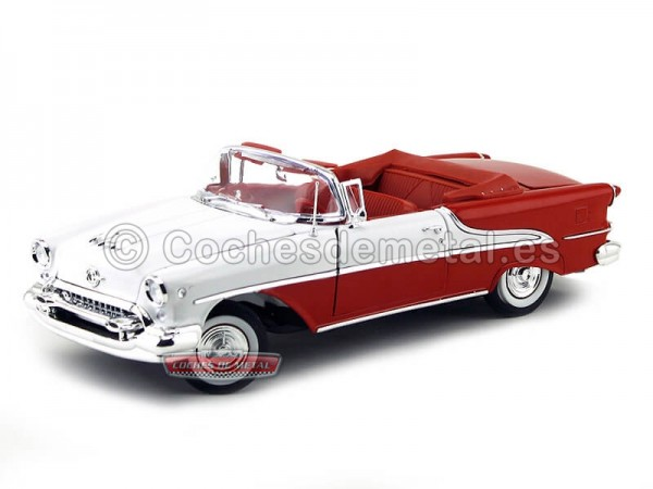 1955 Oldsmobile Super 88 Convertible Blanco-Rojo 1:18 Welly 19869 Cochesdemetal.es