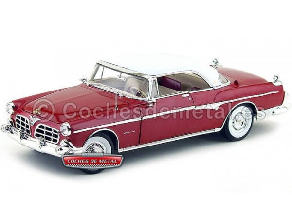 1955 Chrysler Imperial Hard Top Granate-Blanco 1:18 Signature Models 18111 Cochesdemetal.es