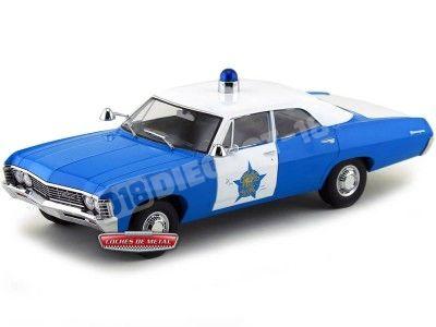 1967 Chevrolet Biscayne Chicago Illinois Police Azul-Blanco 1:18 Greenlight 19009 Cochesdemetal.es