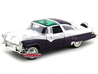 1955 Ford Fairlane Crown Victoria Púrpura-Blanco 1:18 Lucky Diecast 92138 Cochesdemetal.es