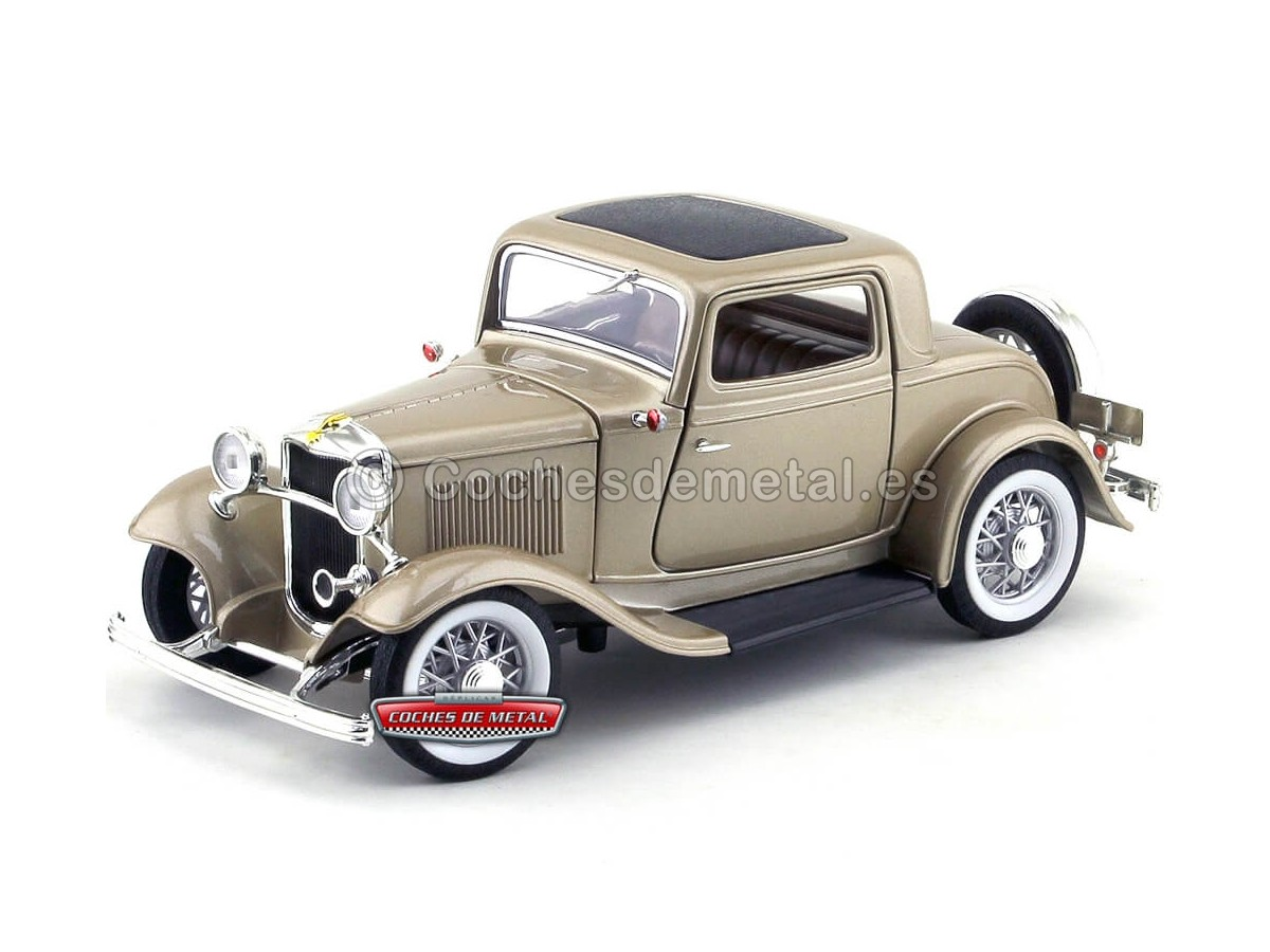 1932 Ford 3-Windows Coupé Metallic Gold 1:18 Lucky Diecast 92248 Cochesdemetal.es