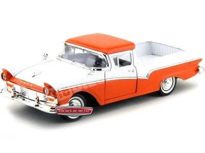 1957 Ford Ranchero Naranja-Blanco 1:18 Lucky Diecast 92208 Cochesdemetal.es