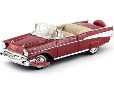 1957 Chevrolet Bel Air Convertible Granate 1:18 Lucky Diecast 92108 Cochesdemetal.es