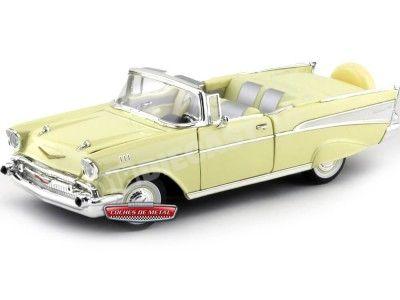 1957 Chevrolet Bel Air Convertible Amarillo 1:18 Lucky Diecast 92108 Cochesdemetal.es
