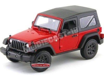 2014 Jeep Willys Wrangler 3.6L Rojo-Negro 1:18 Maisto 31676 Cochesdemetal.es