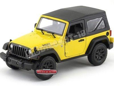 2014 Jeep Willys Wrangler 3.6L Amarillo-Negro 1:18 Maisto 31676 Cochesdemetal.es