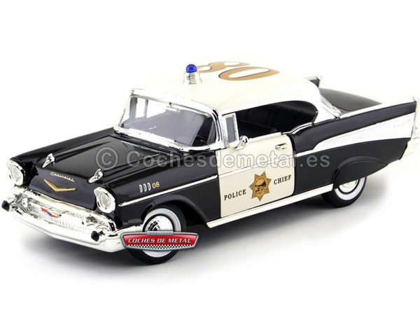 1957 Chevrolet Bel Air Hard Top Police Car 1:18 Lucky Diecast 92107 Cochesdemetal.es