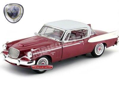 1958 Studebaker Golden Hawk Claret-White 1:18 Lucky Diecast 20018BU Cochesdemetal.es