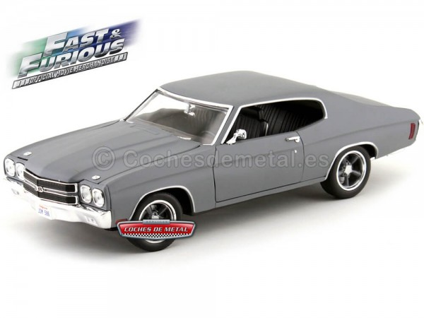 "1970 Chevrolet Chevelle SS ""Fast and Furious IV"" Gris Mate 1:18 Greenlight Collectibles 12946 Cochesdemetal.es"