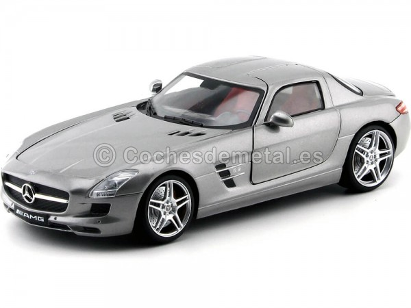 2010 Mercedes-Benz SLS AMG Gullwing Gris 1:18 Mondo Motors 50106