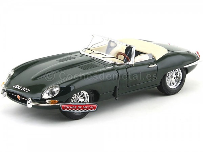 "1961 Jaguar Type ""E"" Cabriolet Verde 1:18 Bburago 12046 Cochesdemetal.es"